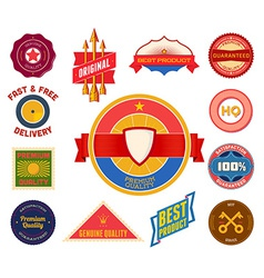 Set of flat colored vintage labels Collection 8 vector image