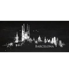 Silhouette chalk Barcelona vector image