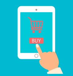 tablet and hand with basket online shop e vector image vector image