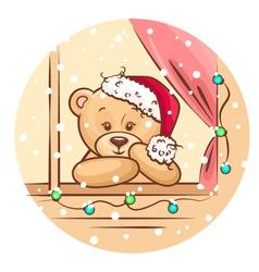 christmas teddy vector image vector image