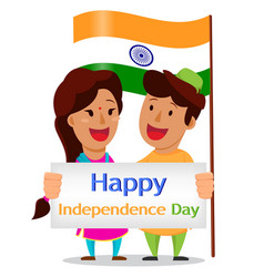 independence day in india indian man and woman vector image vector image