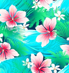 Tropical white hibiscus flowers with green leaves vector image vector image