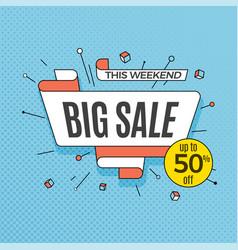 big sale retro design element in pop art style on vector image vector image