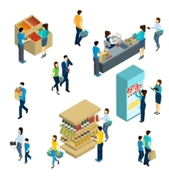 Isometric People Shopping vector image