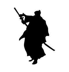Samurai silhouette black vector image vector image