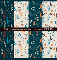 set of seamless patterns with floral design vector image vector image