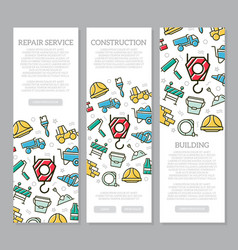 set of three digital construction vertical banners vector image