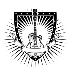 guitar shield vector image vector image