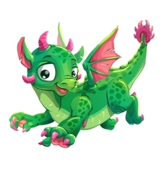 Little cute green flying young dragon vector image