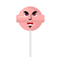 lollipop angry emoji candy on stick aggressive vector image vector image