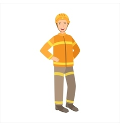 Man Firefighter Part Of Happy People And Their vector image vector image
