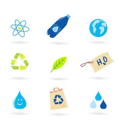 recycle water nature icons vector image