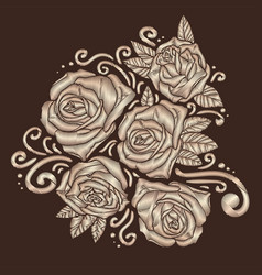 roses embroidery on brown background vector image