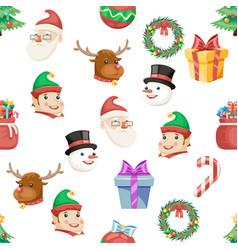 seamless christmas new year winter holiday xmas vector image vector image