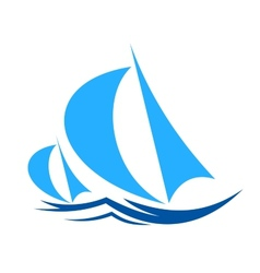 Two yachts racing on ocean waves vector image vector image