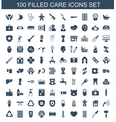 100 care icons vector