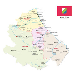 Abruzzo administrative and political map with flag vector
