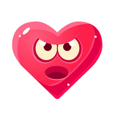 Angry and annoyed emoji pink heart emotional vector