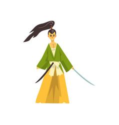 armed samurai cartoon character japanese warrior vector image