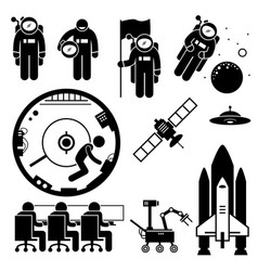 astronaut space exploration stick figure vector image