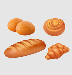 bakery realistic breakfast food pastries loaf vector image