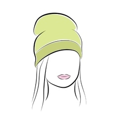 Beautiful young woman with her hair in a green vector image
