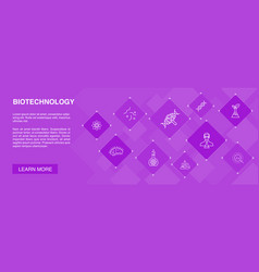 Biotechnology banner 10 icons conceptdna science vector