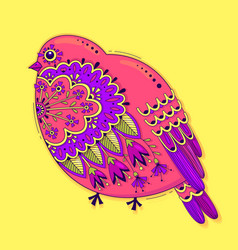 bird with oriental patterns and flowers bright vector image