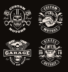 black and white vintage bike emblems on dark vector image