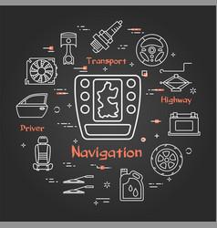 Black linear banner car navigation vector