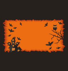 blank halloween banner template with scary black vector image