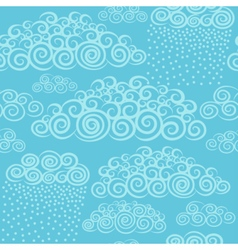 Blue sky with stylize cute curly clouds vector