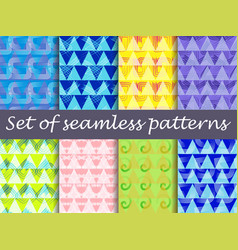 bright seamless pattern with lines and triangles vector image
