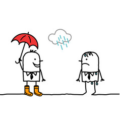 cartoon people with rainy weather and accessories vector image