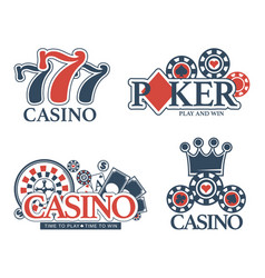 casino poker gambling icons templates of vector image