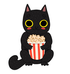 Cat eating popcorn isolated on white background vector
