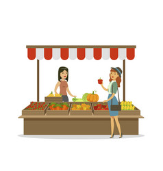 cheerful female farmer selling vegetables on stall vector image