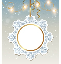 Christmas banner with shining garland vector image
