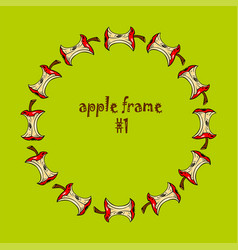 Colored circle frame with apple core on green vector