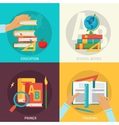Colored School Books Icon Set vector image