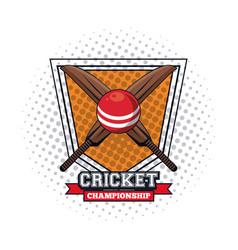 Cricket player badge vector