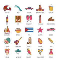 cuba icon set cartoon style vector image