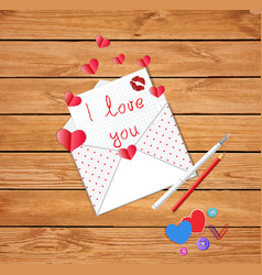 cute opened envelope with letter and text i love vector image