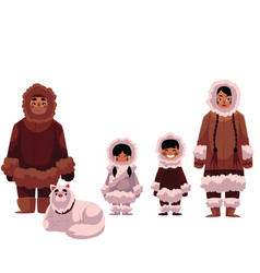 eskimo inuit family of father mother and kids vector image