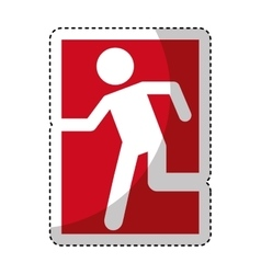 Exit emergency route sign vector