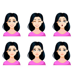 Face expressions of beautiful woman vector