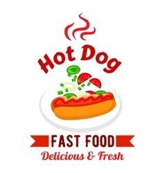 Fast food hot dog with fresh vegetables badge vector image