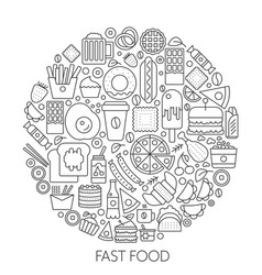 Fast food icons in circle - concept line vector