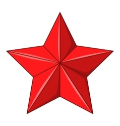 Five-pointed red star icon cartoon style vector image