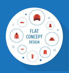 Flat icons hat gumshoes swimming trunk and other vector